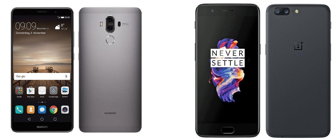 Huawei Mate 9 ao lado do OnePlus 5