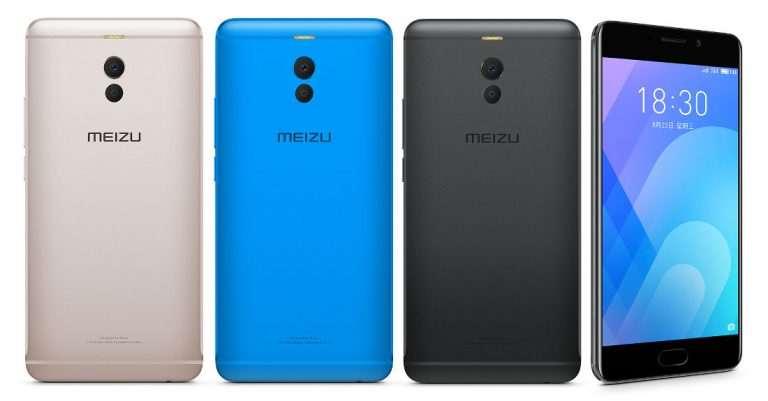Meizu M6 note nas cores dourado, azul e preto