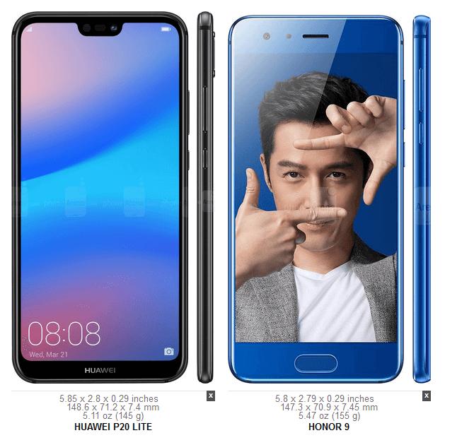 Comparação de tamanho de tela e dimensões entre o Huawei P20 Lite e o Honor 9