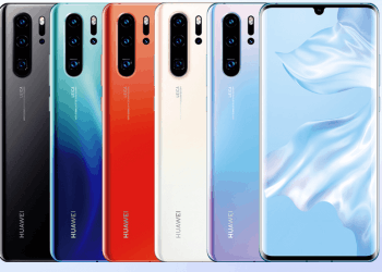 Imagem exibindo as cinco cores do Huawei P30 Pro