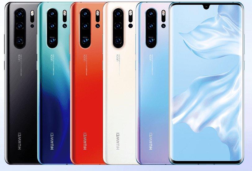 Imagem exibindo as cinco cores do Huawei P30 Pro