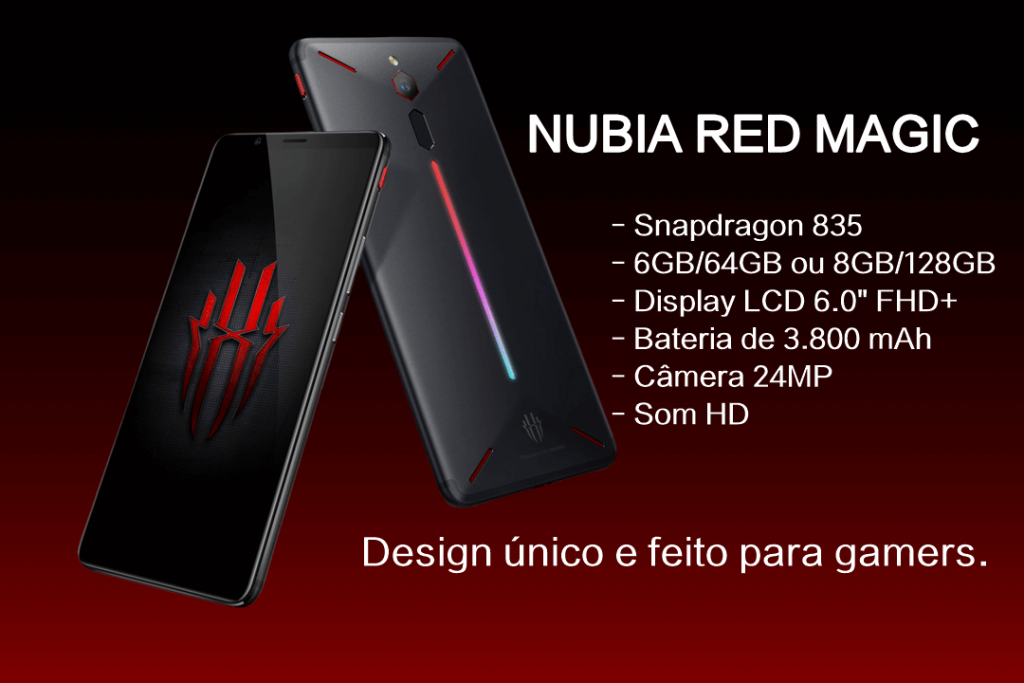 Foto do Nubia Red Magic na cor preta